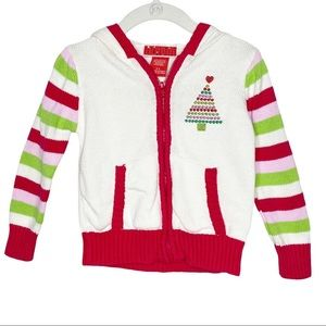 Girls Christmas Tree Elf Hoodie Sweater Size 2T